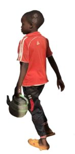 african kid with kettle