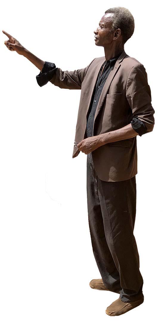 Black Old Man Standing, Pointing something