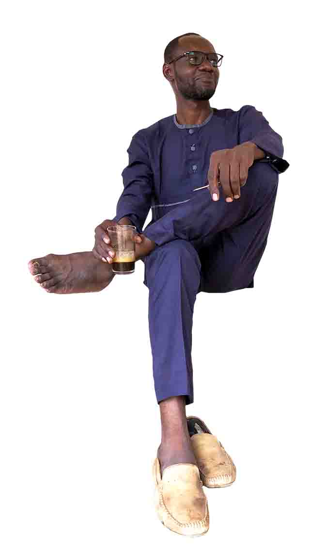 African Man sitting with coffee cup